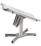 Műtőasztal r.m. V lappal, 140x50cm, dönthető, hidraulikus, X lábbal